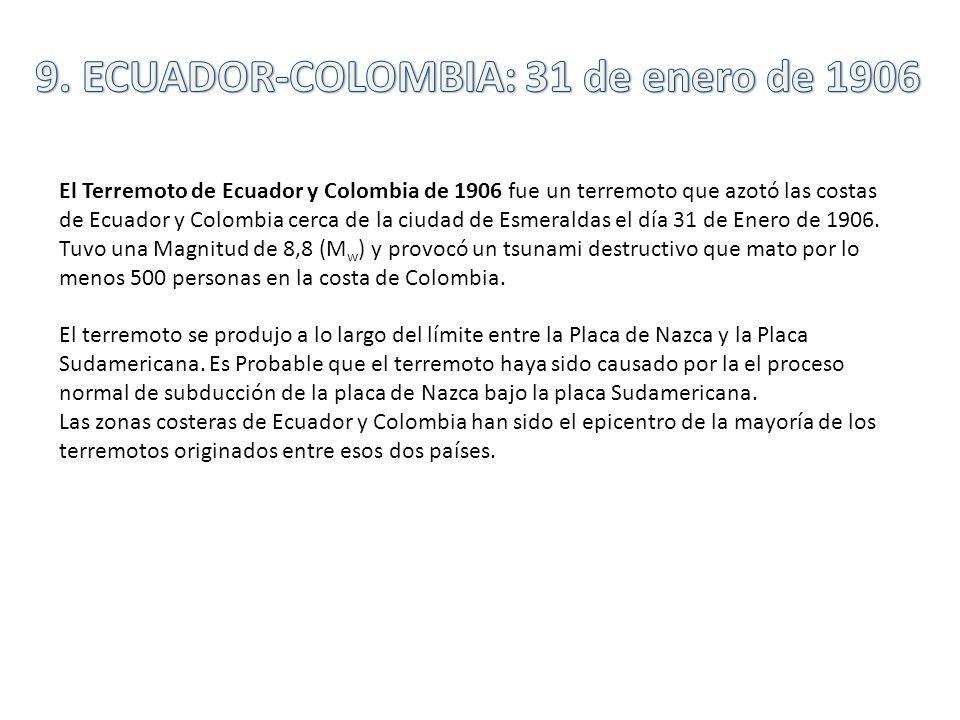 El Terremoto de Ecuador y Colombia de 1906 fue un terremoto que azotó las costas de Ecuador y Colombia cerca de la ciudad de Esmeraldas el día 31 de E