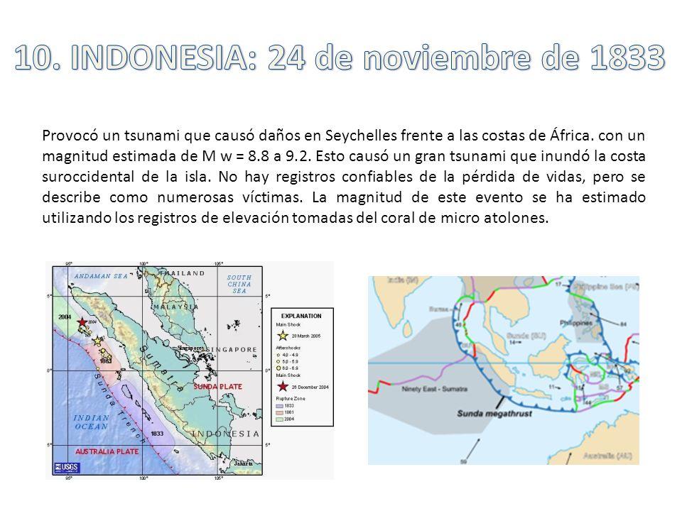 Provocó un tsunami que causó daños en Seychelles frente a las costas de África. con un magnitud estimada de M w = 8.8 a 9.2. Esto causó un gran tsunam