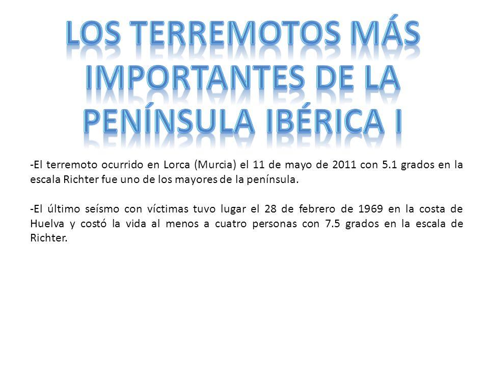 -El terremoto ocurrido en Lorca (Murcia) el 11 de mayo de 2011 con 5.1 grados en la escala Richter fue uno de los mayores de la península. -El último