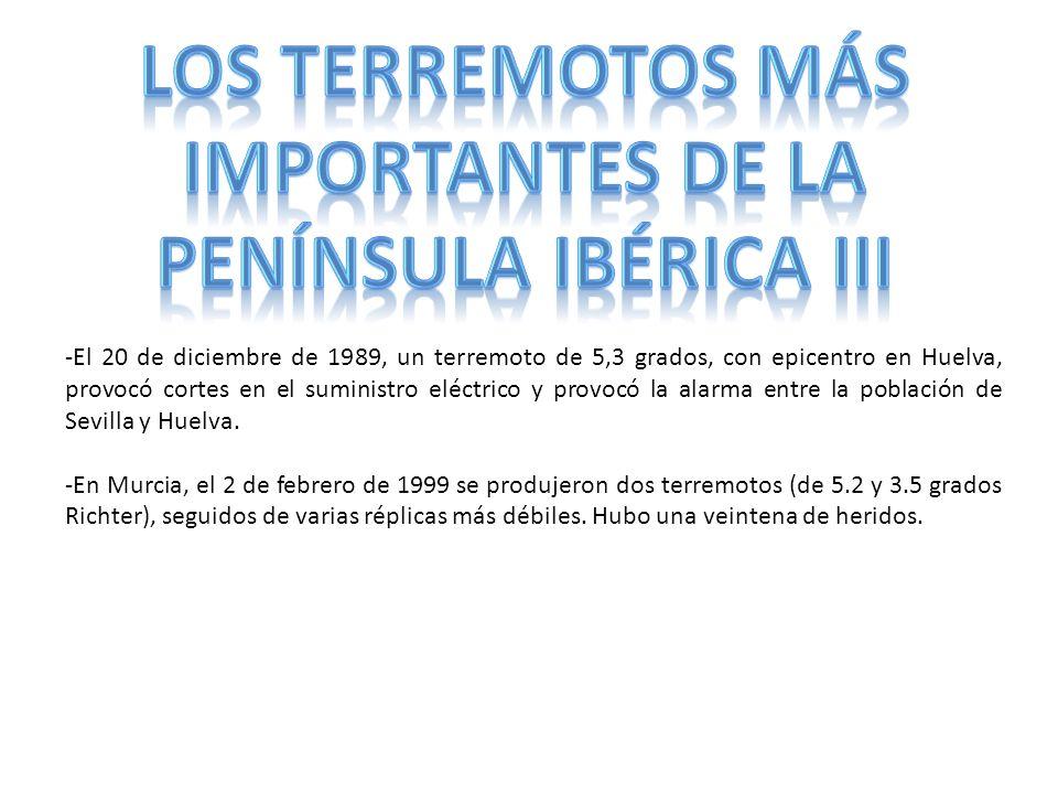 -El 20 de diciembre de 1989, un terremoto de 5,3 grados, con epicentro en Huelva, provocó cortes en el suministro eléctrico y provocó la alarma entre