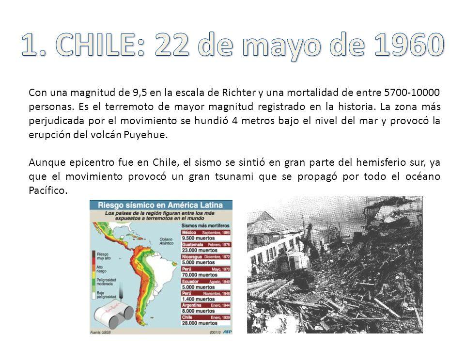 Con una magnitud de 9,5 en la escala de Richter y una mortalidad de entre 5700-10000 personas. Es el terremoto de mayor magnitud registrado en la hist