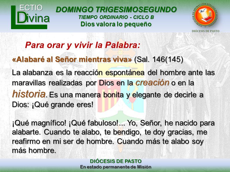 DOMINGO TRIGESIMOSEGUNDO TIEMPO ORDINARIO - CICLO B Dios valora lo pequeño ECTIO DIÓCESIS DE PASTO En estado permanente de Misión ivina Para orar y vi