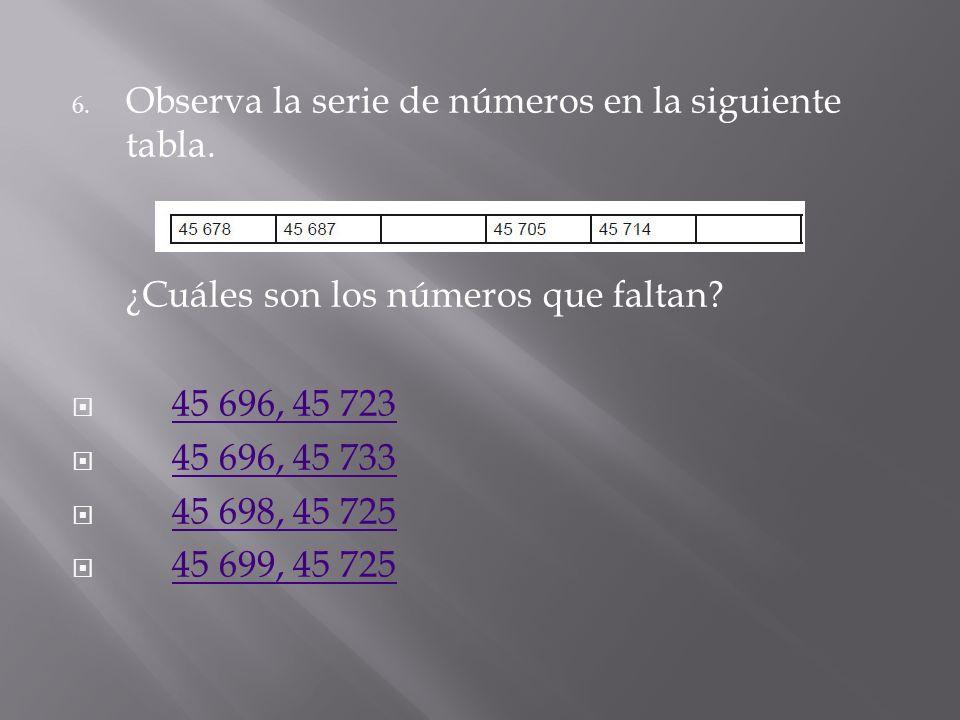 5.Qué números deben colocarse en los espacios para completar la siguiente serie numérica? 14 495, 14 455 14 515, 14 475 14 510, 14 470 14 490, 14 450