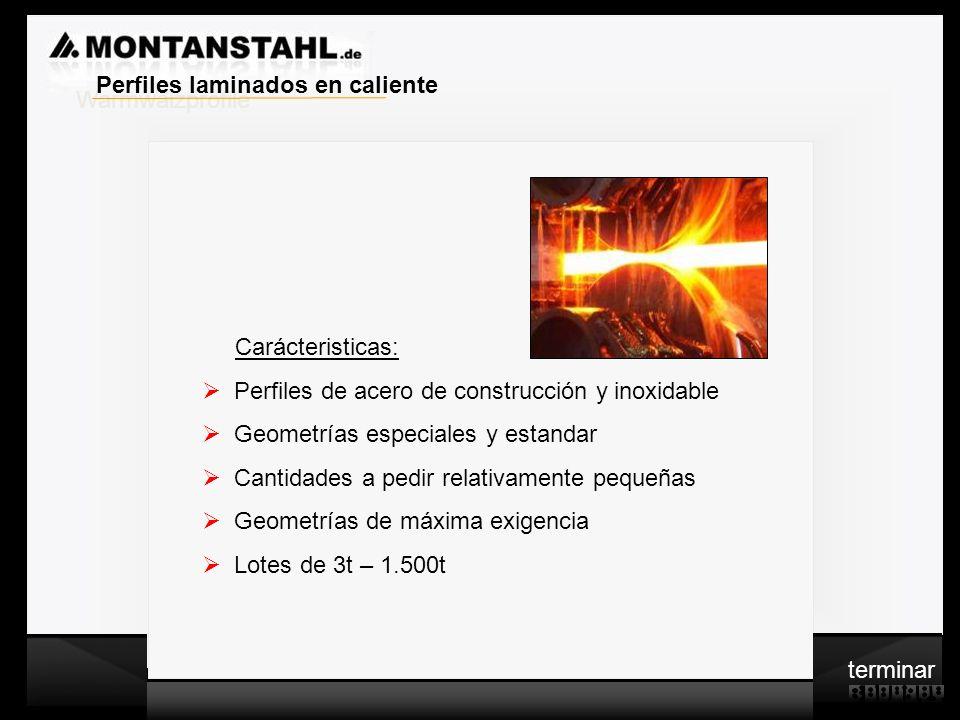 Laser - Profile Warmwalzwerk c Carácteristicas: Perfiles de acero de construcción y inoxidable Geometrías especiales y estandar Cantidades a pedir rel