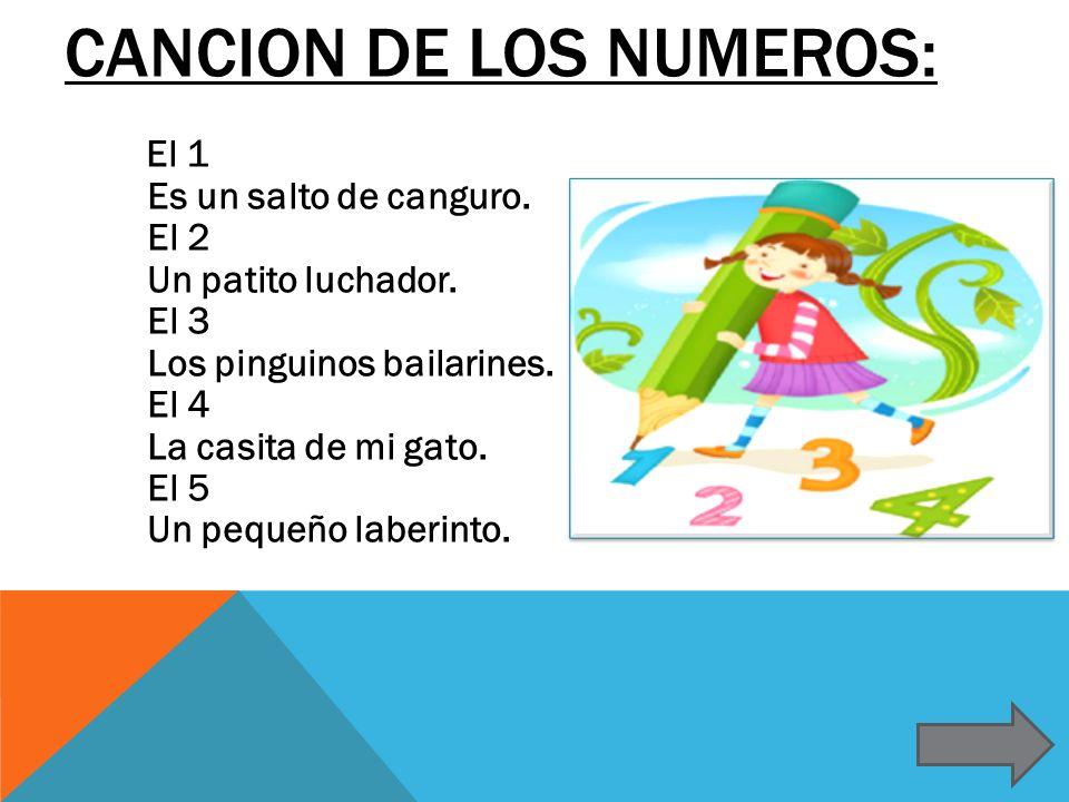 CANCION DE LOS NUMEROS: El 1 Es un salto de canguro. El 2 Un patito luchador. El 3 Los pinguinos bailarines. El 4 La casita de mi gato. El 5 Un pequeñ