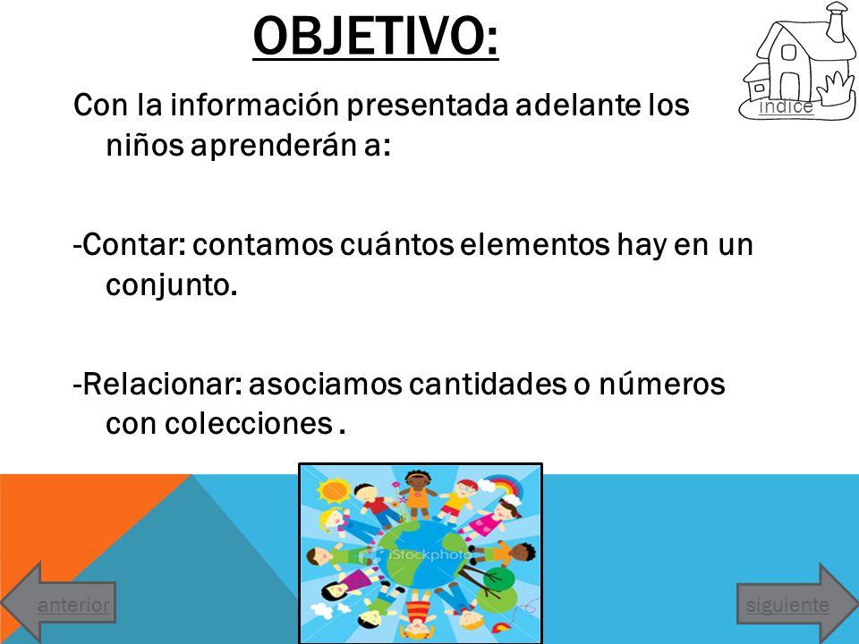 OBJETIVO: Con la información presentada adelante los niños aprenderán a: -Contar: contamos cuántos elementos hay en un conjunto. -Relacionar: asociamo