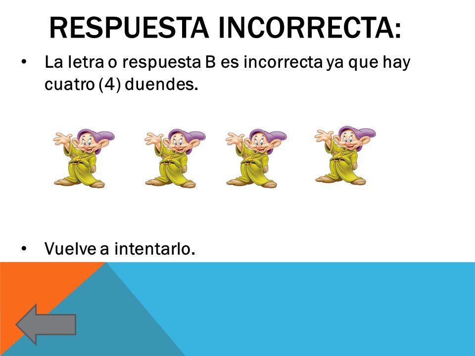 RESPUESTA INCORRECTA: La letra o respuesta B es incorrecta ya que hay cuatro (4) duendes. Vuelve a intentarlo.