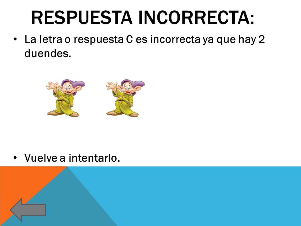 RESPUESTA INCORRECTA: La letra o respuesta C es incorrecta ya que hay 2 duendes. Vuelve a intentarlo.