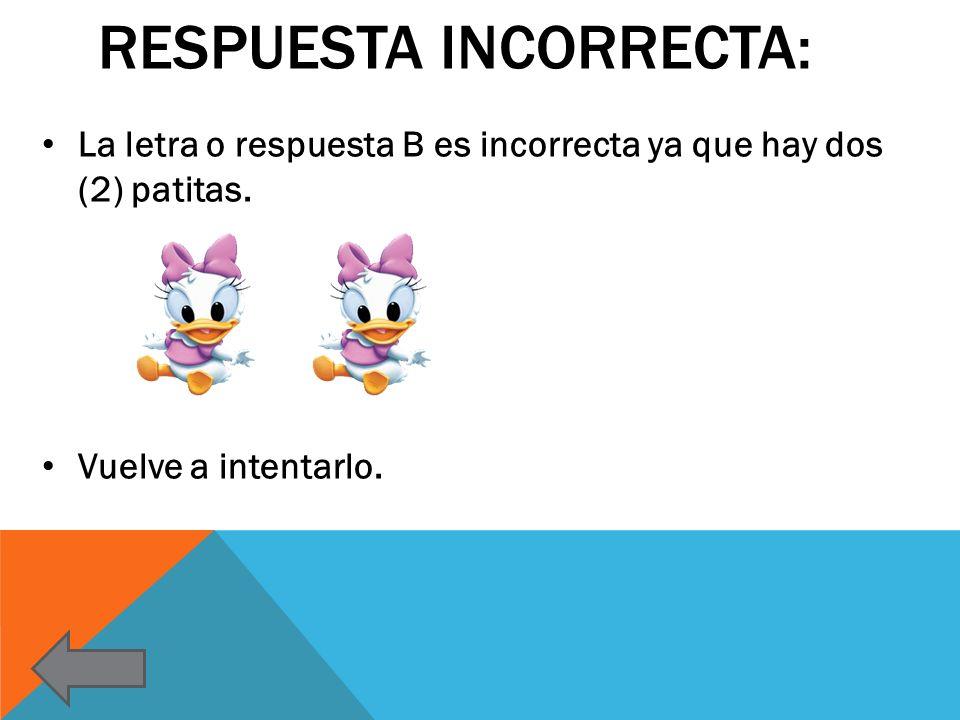 RESPUESTA INCORRECTA: La letra o respuesta B es incorrecta ya que hay dos (2) patitas. Vuelve a intentarlo.
