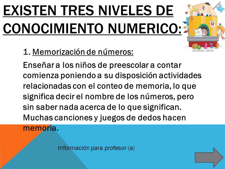 EXISTEN TRES NIVELES DE CONOCIMIENTO NUMERICO: 1. Memorización de números: Enseñar a los niños de preescolar a contar comienza poniendo a su disposici