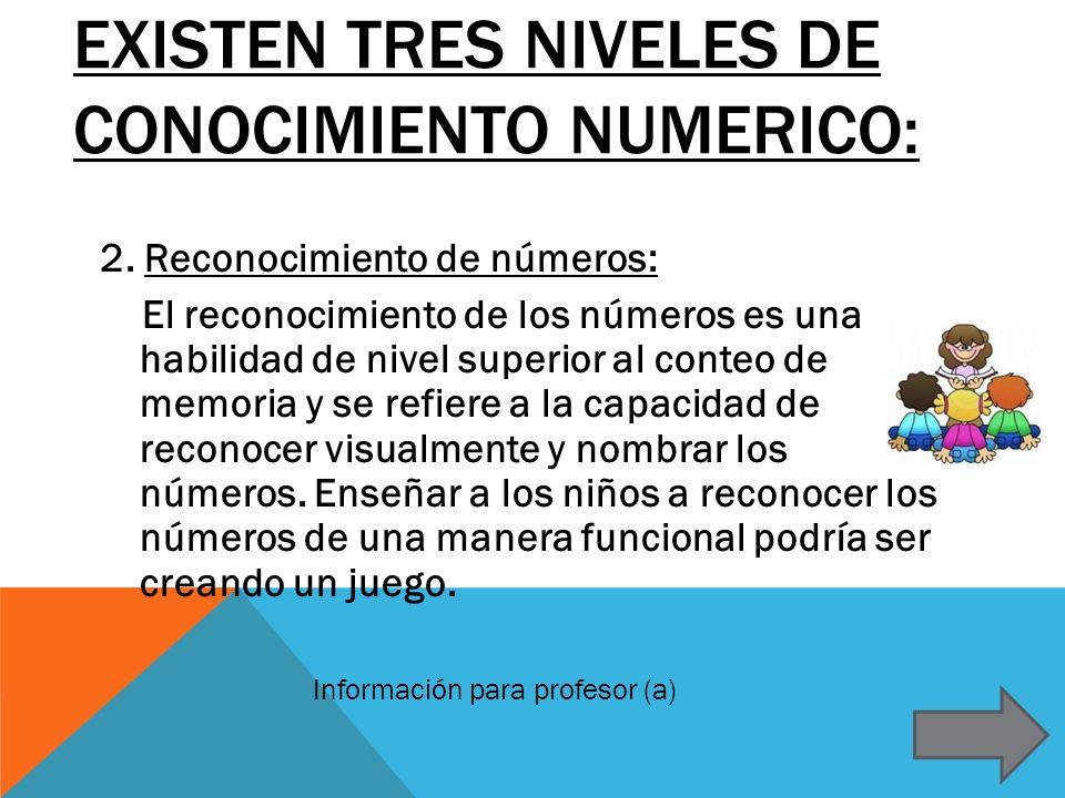 EXISTEN TRES NIVELES DE CONOCIMIENTO NUMERICO: 2. Reconocimiento de números: El reconocimiento de los números es una habilidad de nivel superior al co