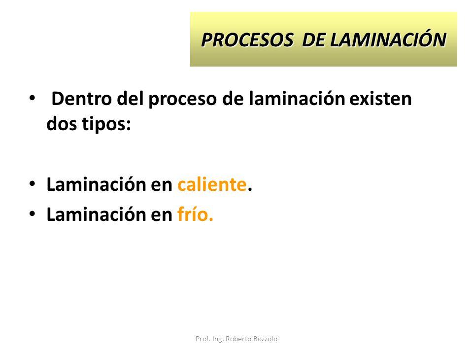 PROCESOS DE LAMINACIÓN Dentro del proceso de laminación existen dos tipos: Laminación en caliente. Laminación en frío. Prof. Ing. Roberto Bozzolo