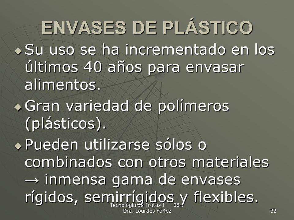 Tecnología de Frutas I 08-I Dra. Lourdes Yáñez 32 ENVASES DE PLÁSTICO Su uso se ha incrementado en los últimos 40 años para envasar alimentos. Su uso