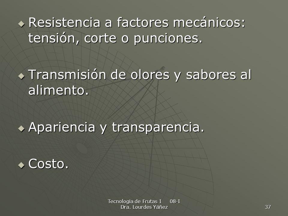 Tecnología de Frutas I 08-I Dra. Lourdes Yáñez 37 Resistencia a factores mecánicos: tensión, corte o punciones. Resistencia a factores mecánicos: tens