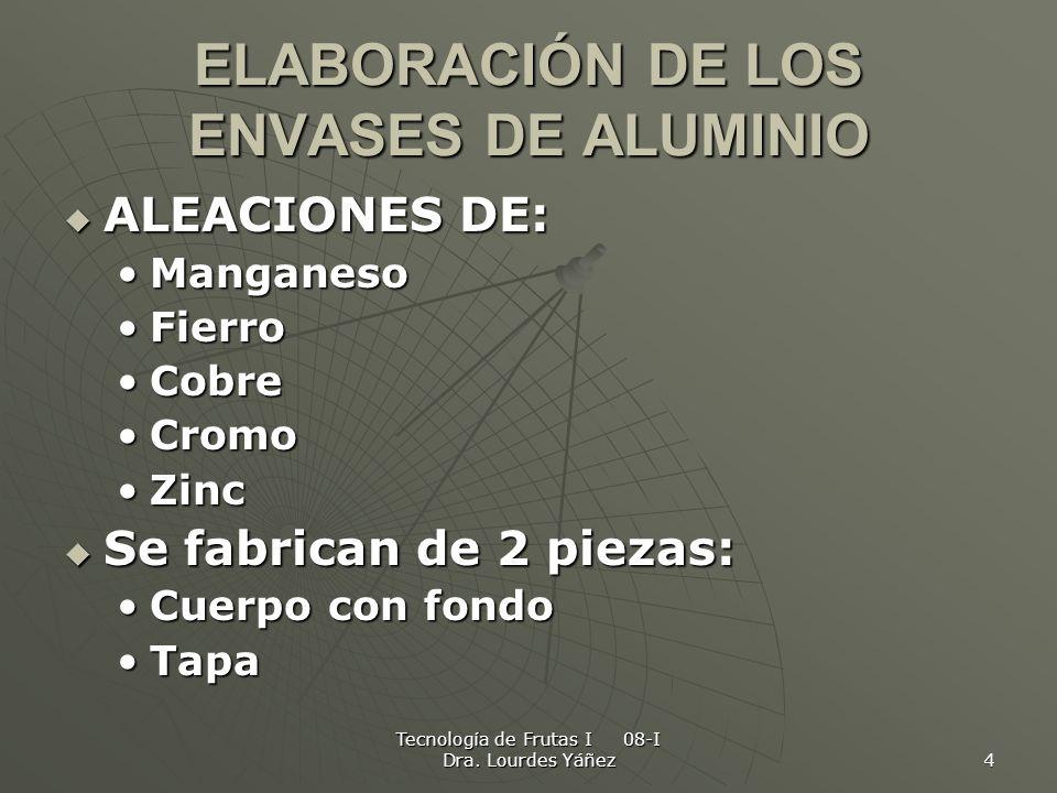 Tecnología de Frutas I 08-I Dra. Lourdes Yáñez 4 ELABORACIÓN DE LOS ENVASES DE ALUMINIO ALEACIONES DE: ALEACIONES DE: ManganesoManganeso FierroFierro