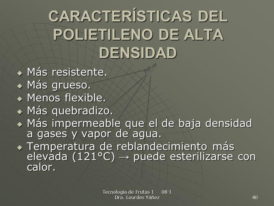 Tecnología de Frutas I 08-I Dra. Lourdes Yáñez 40 CARACTERÍSTICAS DEL POLIETILENO DE ALTA DENSIDAD Más resistente. Más resistente. Más grueso. Más gru