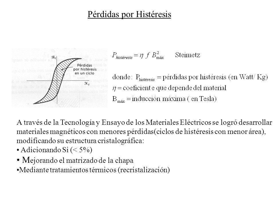 La bobina genera un campo magnético variable (circula por ella una corriente alterna senoidal) Si el núcleo de la bobina es de un material conductor, se inducirán en él por la ley de Faraday, fems : Cuando el flujo magnético en un medio está cambiando, se genera un campo eléctrico E.