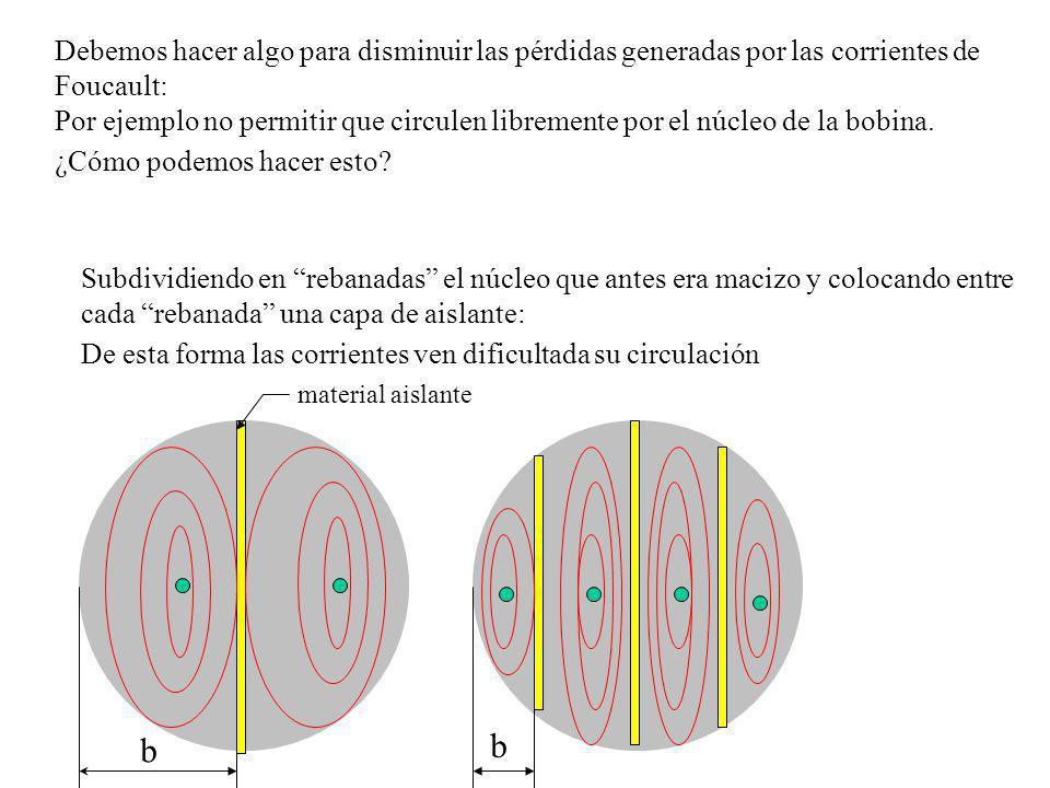 b Comparación de las Pérdidas por Foucault entre un núcleo macizo y uno laminado Observamos que la potencia consumida por la bobina con núcleo laminado es mucho menor que la consumida cuando tenía el núcleo macizo.