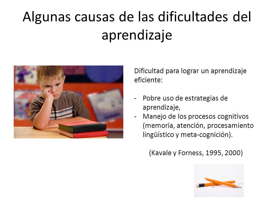 Algunas causas de las dificultades del aprendizaje Dificultad para lograr un aprendizaje eficiente: -Pobre uso de estrategias de aprendizaje, -Manejo