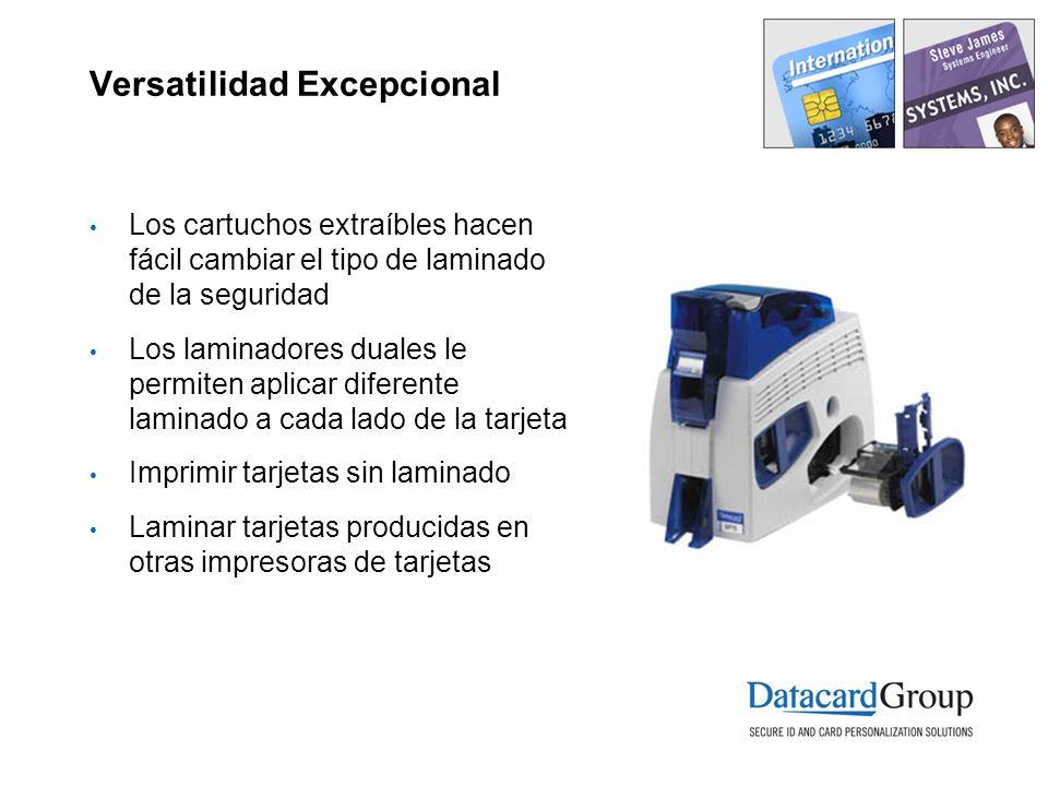 Versatilidad Excepcional Los cartuchos extraíbles hacen fácil cambiar el tipo de laminado de la seguridad Los laminadores duales le permiten aplicar d