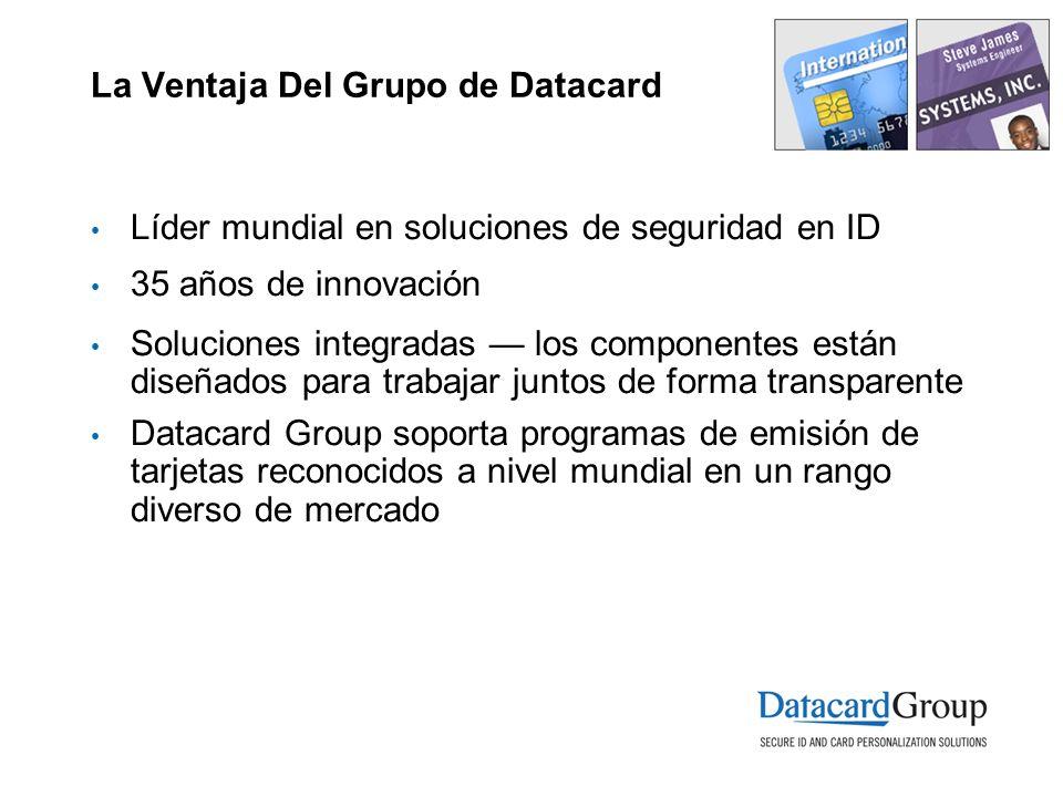 La Ventaja Del Grupo de Datacard Líder mundial en soluciones de seguridad en ID 35 años de innovación Soluciones integradas los componentes están dise