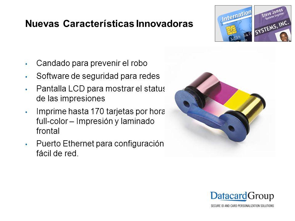 Nuevas Características Innovadoras Candado para prevenir el robo Software de seguridad para redes Pantalla LCD para mostrar el status de las impresion