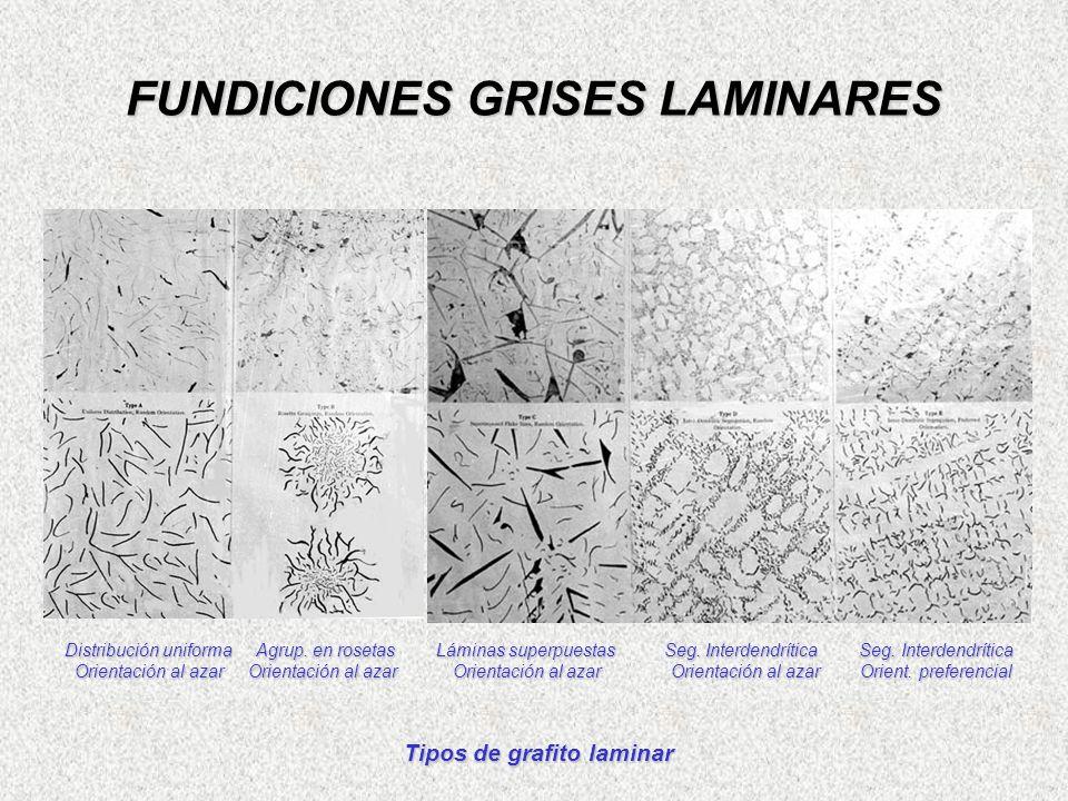 FUNDICIONES GRISES LAMINARES Distribución uniforma Agrup. en rosetas Láminas superpuestas Seg. Interdendrítica Seg. Interdendrítica Orientación al aza