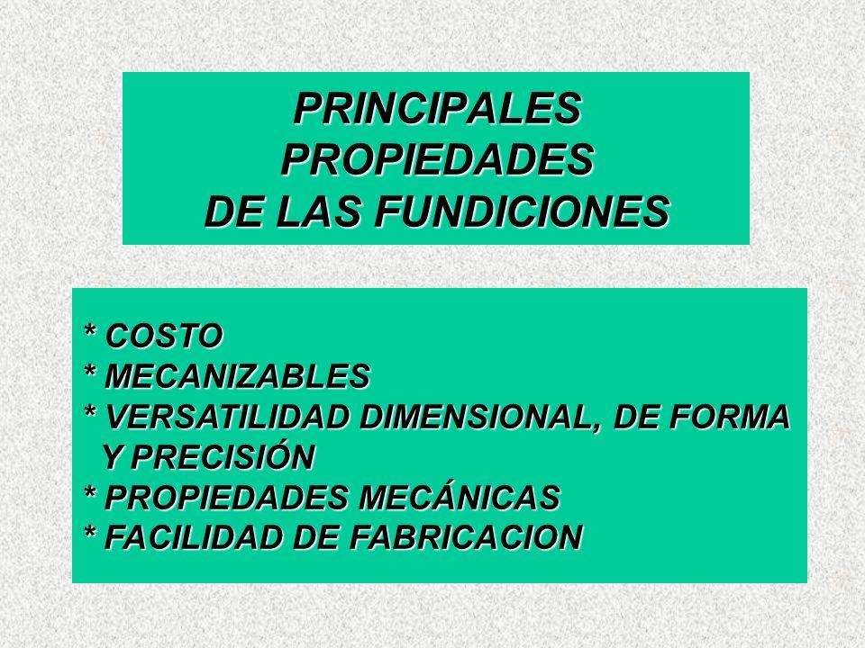 * COSTO * MECANIZABLES * VERSATILIDAD DIMENSIONAL, DE FORMA Y PRECISIÓN * PROPIEDADES MECÁNICAS * FACILIDAD DE FABRICACION PRINCIPALES PROPIEDADES DE