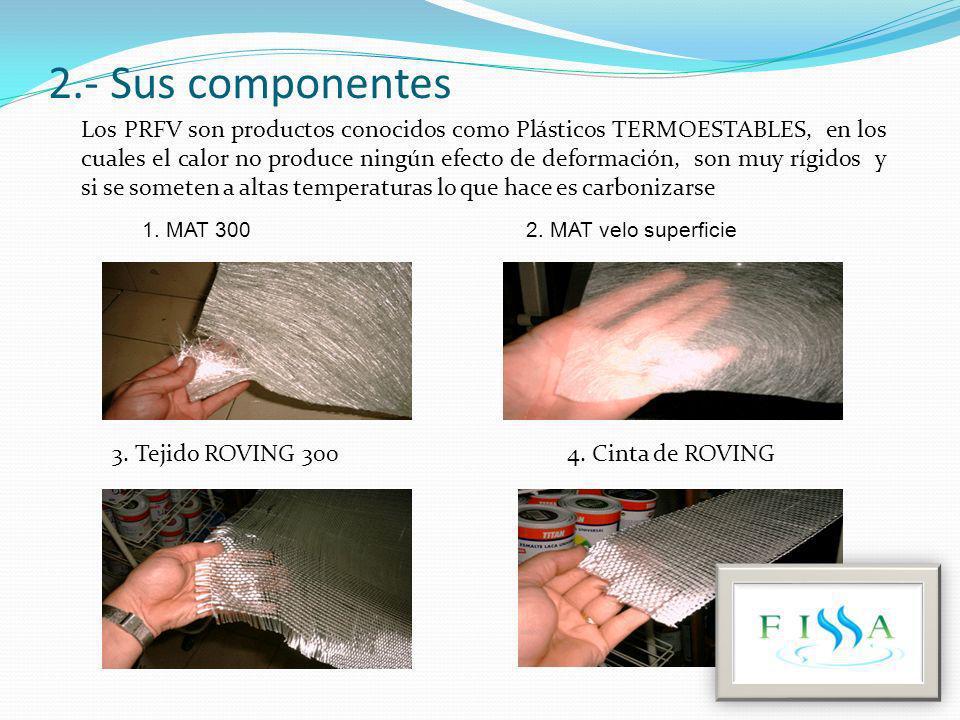 2.- Sus componentes 1. MAT 300 2. MAT velo superficie 3. Tejido ROVING 300 4. Cinta de ROVING Los PRFV son productos conocidos como Plásticos TERMOEST