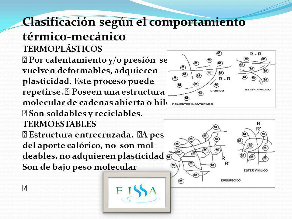 Clasificación según el comportamiento térmico-mecánico TERMOPLÁSTICOS ƒ Por calentamiento y/o presión se vuelven deformables, adquieren plasticidad. E