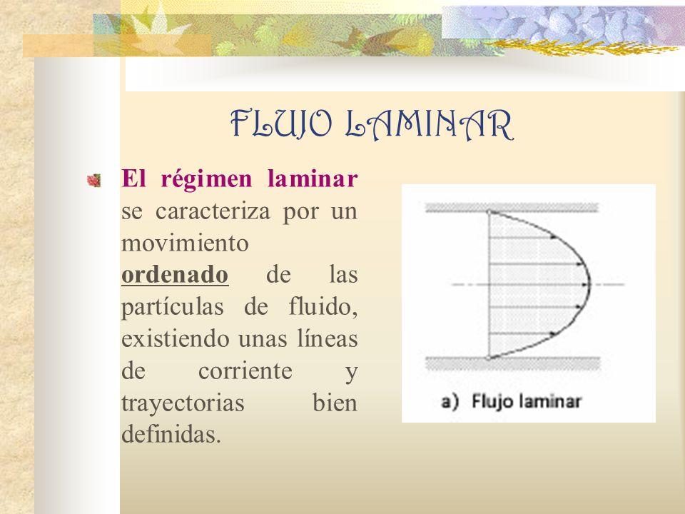 FLUJO LAMINAR El régimen laminar se caracteriza por un movimiento ordenado de las partículas de fluido, existiendo unas líneas de corriente y trayectorias bien definidas.