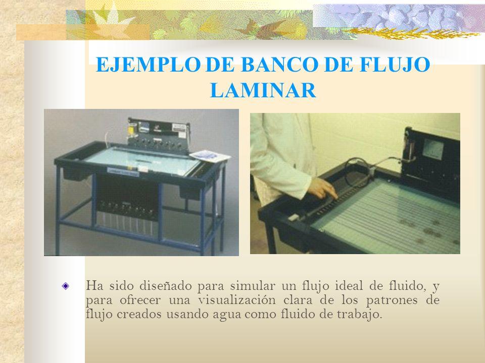 EJEMPLO DE BANCO DE FLUJO LAMINAR Ha sido diseñado para simular un flujo ideal de fluido, y para ofrecer una visualización clara de los patrones de flujo creados usando agua como fluido de trabajo.