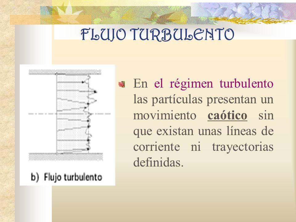 FLUJO TURBULENTO En el régimen turbulento las partículas presentan un movimiento caótico sin que existan unas líneas de corriente ni trayectorias definidas.
