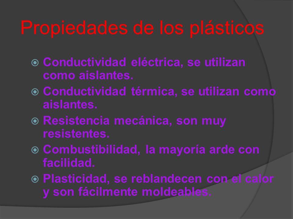 Propiedades de los plásticos Conductividad eléctrica, se utilizan como aislantes. Conductividad térmica, se utilizan como aislantes. Resistencia mecán