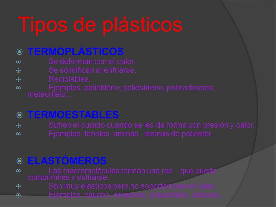 Tipos de plásticos TERMOPLÁSTICOS Se deforman con el calor. Se solidifican al enfriarse. Reciclables. Ejemplos: polietileno, poliestireno, policarbona