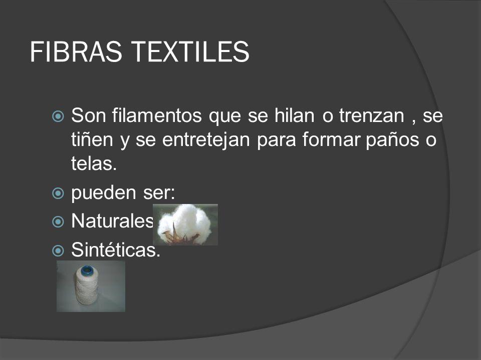 FIBRAS TEXTILES Son filamentos que se hilan o trenzan, se tiñen y se entretejan para formar paños o telas. pueden ser: Naturales. Sintéticas.