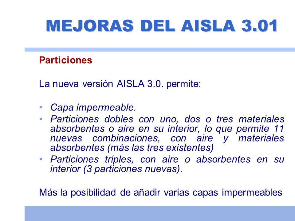 MEJORAS DEL AISLA 3.01 Particiones La nueva versión AISLA 3.0. permite: Capa impermeable. Particiones dobles con uno, dos o tres materiales absorbente