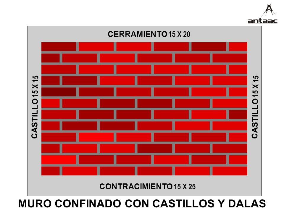 MURO CONFINADO CON CASTILLOS Y DALAS CERRAMIENTO 15 X 20 CONTRACIMIENTO 15 X 25 CASTILLO 15 X 15