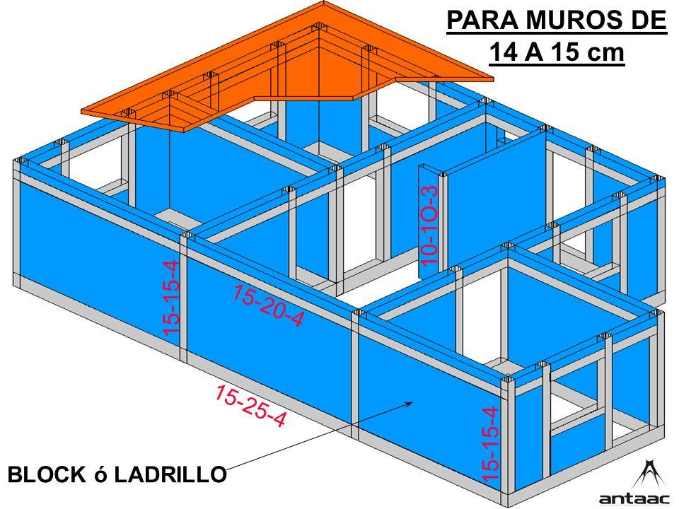 15-25-4 15-20-4 15-15-4 10-1O-3 PARA MUROS DE 14 A 15 cm BLOCK ó LADRILLO