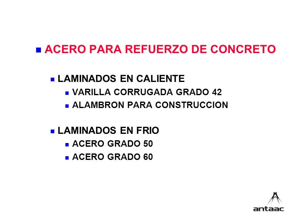 ACERO PARA REFUERZO DE CONCRETO LAMINADOS EN CALIENTE VARILLA CORRUGADA GRADO 42 ALAMBRON PARA CONSTRUCCION LAMINADOS EN FRIO ACERO GRADO 50 ACERO GRADO 60