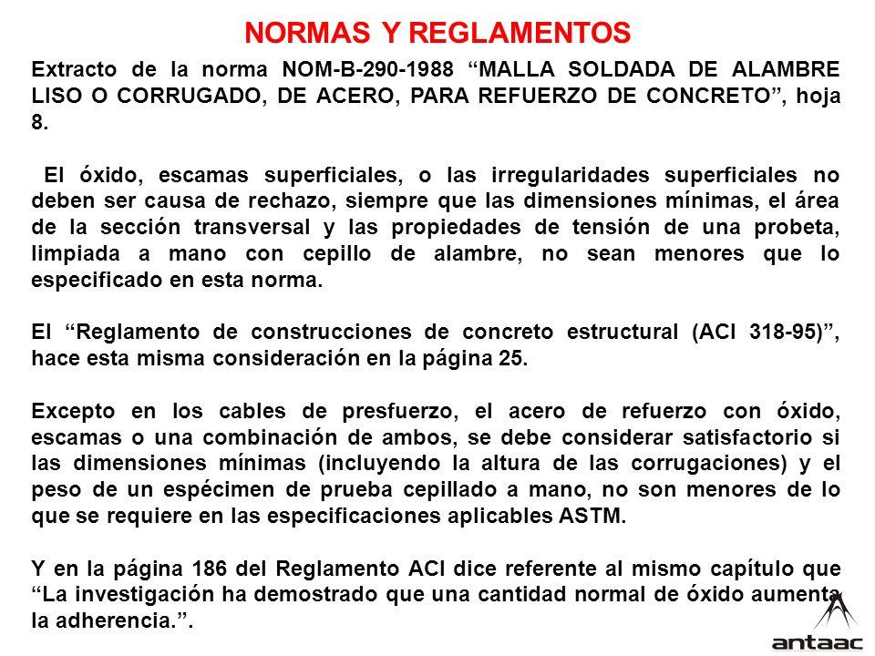 Extracto de la norma NOM-B-290-1988 MALLA SOLDADA DE ALAMBRE LISO O CORRUGADO, DE ACERO, PARA REFUERZO DE CONCRETO, hoja 8.