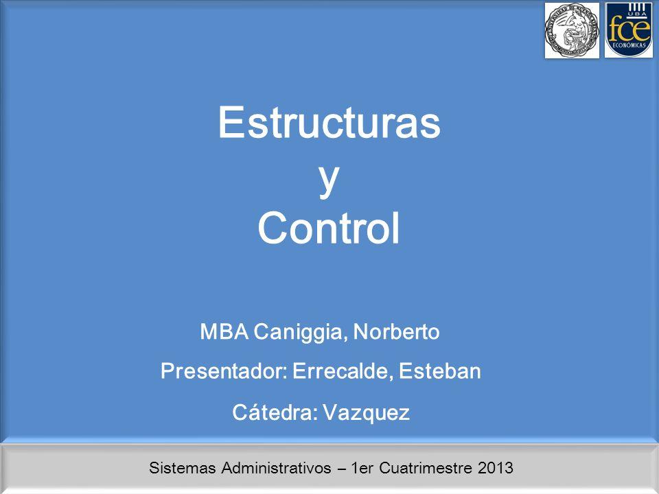 Sistemas Administrativos – 1er Cuatrimestre 2013 Estructuras y Control MBA Caniggia, Norberto Presentador: Errecalde, Esteban Cátedra: Vazquez