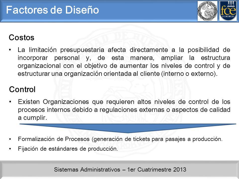 Sistemas Administrativos – 1er Cuatrimestre 2013 Factores de Diseño Costos La limitación presupuestaria afecta directamente a la posibilidad de incorp
