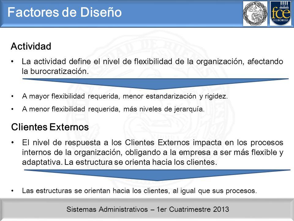 Sistemas Administrativos – 1er Cuatrimestre 2013 Factores de Diseño Actividad La actividad define el nivel de flexibilidad de la organización, afectando la burocratización.