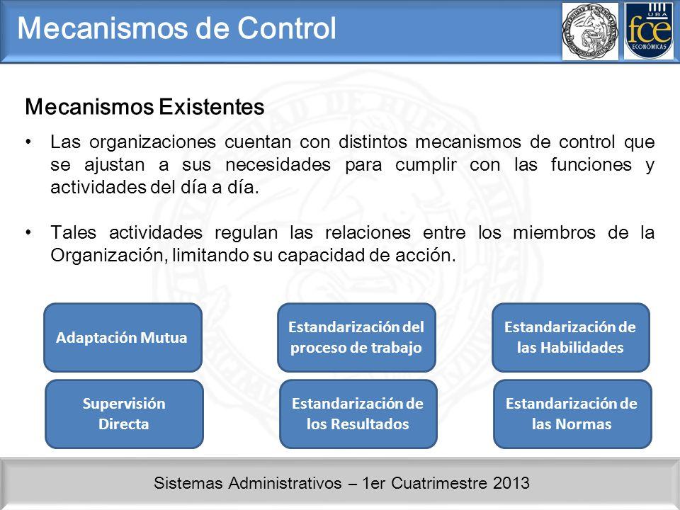 Sistemas Administrativos – 1er Cuatrimestre 2013 Mecanismos de Control Las organizaciones cuentan con distintos mecanismos de control que se ajustan a