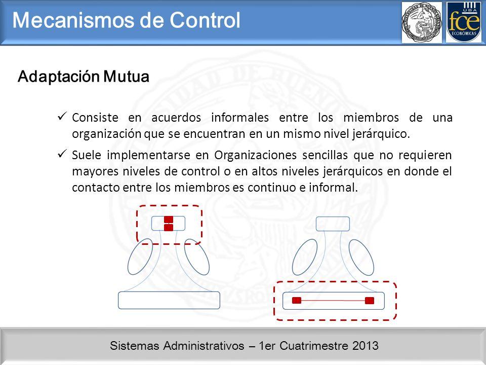 Sistemas Administrativos – 1er Cuatrimestre 2013 Mecanismos de Control Adaptación Mutua Consiste en acuerdos informales entre los miembros de una organización que se encuentran en un mismo nivel jerárquico.