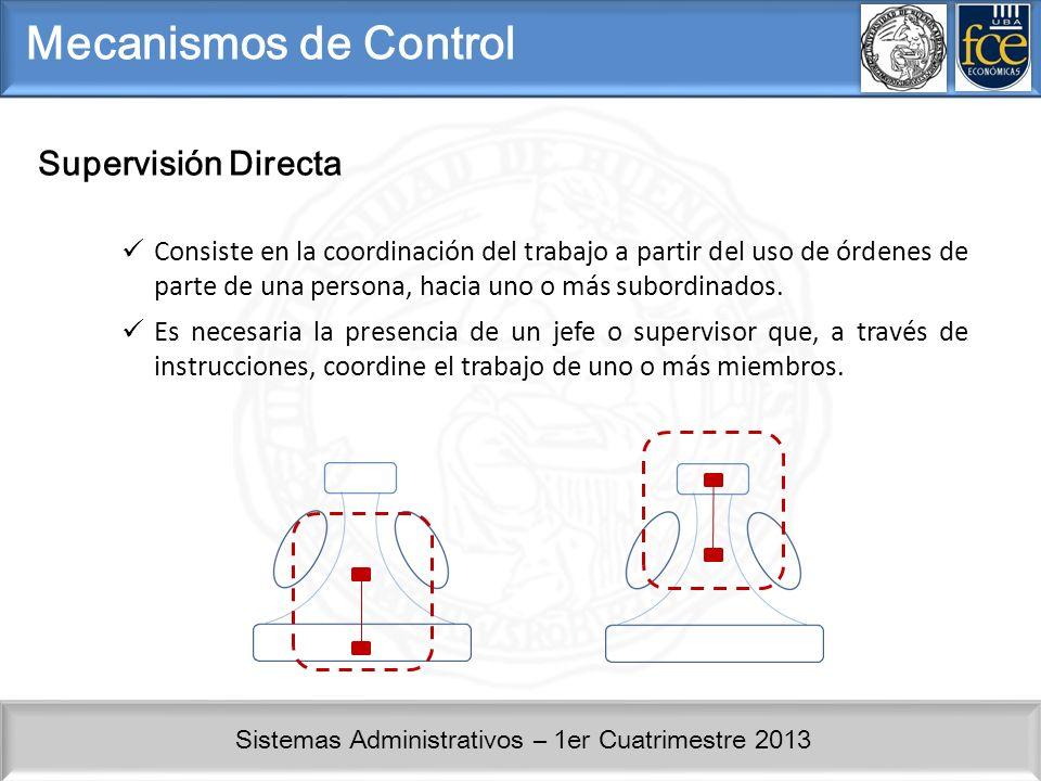 Sistemas Administrativos – 1er Cuatrimestre 2013 Mecanismos de Control Supervisión Directa Consiste en la coordinación del trabajo a partir del uso de órdenes de parte de una persona, hacia uno o más subordinados.