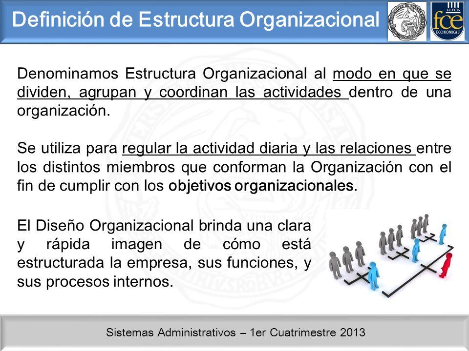 Sistemas Administrativos – 1er Cuatrimestre 2013 Definición de Estructura Organizacional Denominamos Estructura Organizacional al modo en que se divid