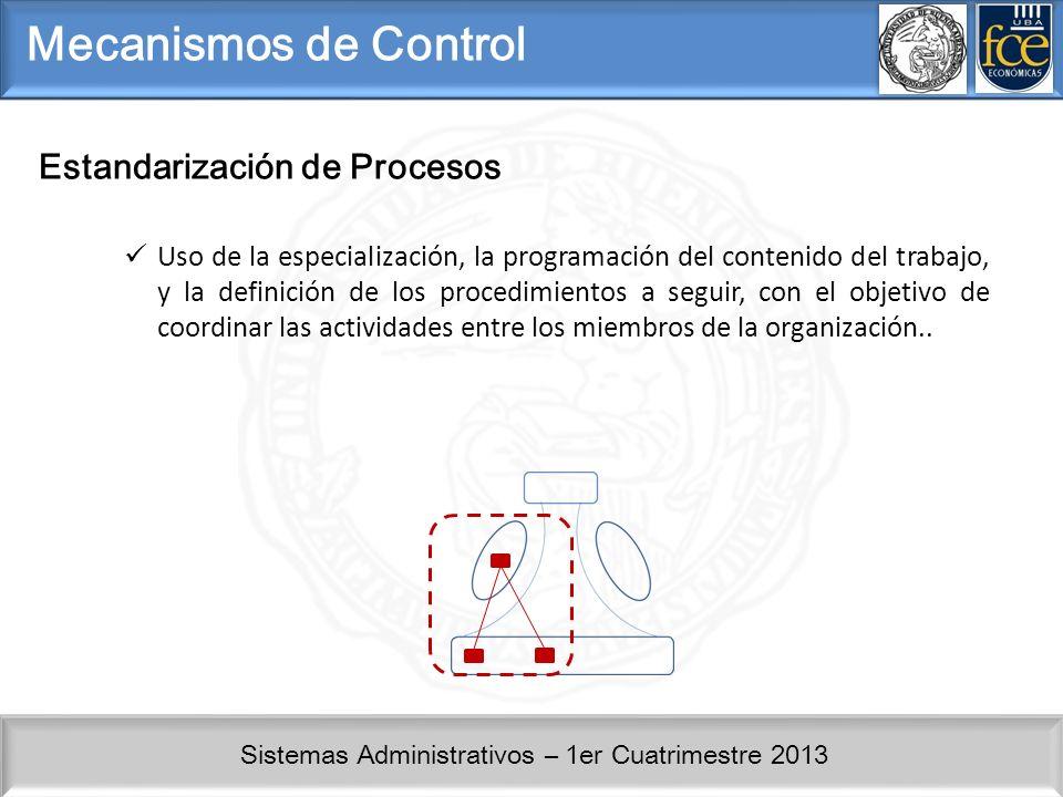 Sistemas Administrativos – 1er Cuatrimestre 2013 Mecanismos de Control Estandarización de Procesos Uso de la especialización, la programación del cont