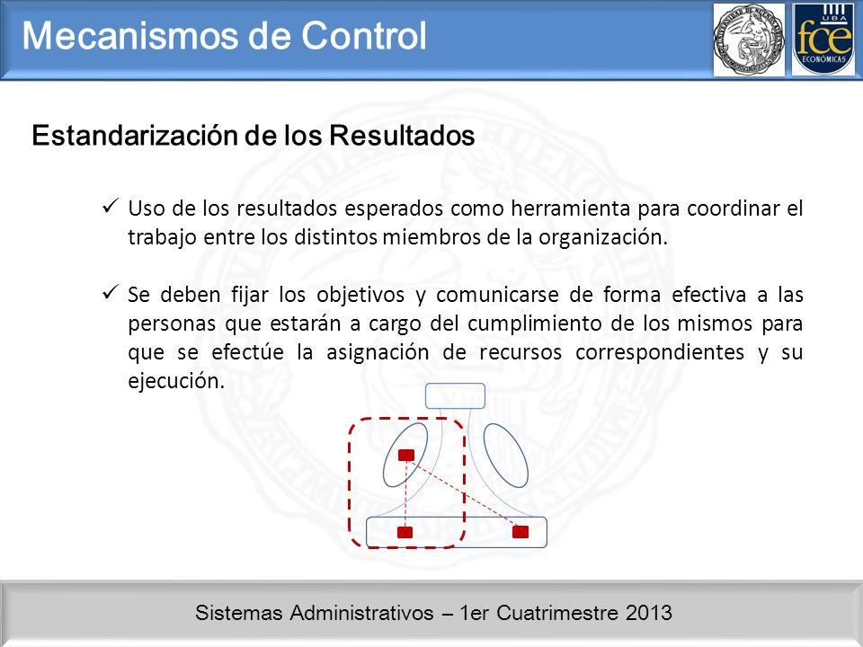 Sistemas Administrativos – 1er Cuatrimestre 2013 Mecanismos de Control Estandarización de los Resultados Uso de los resultados esperados como herramienta para coordinar el trabajo entre los distintos miembros de la organización.